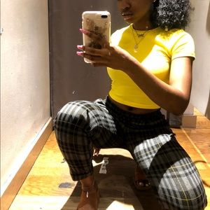 Pants - Yellow, Black, and Gray Plaid Casual/Dress Pants